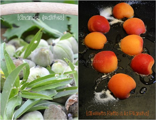 Produits servant à la recette amandes fraîches et abricots bio rôtis à la plancha