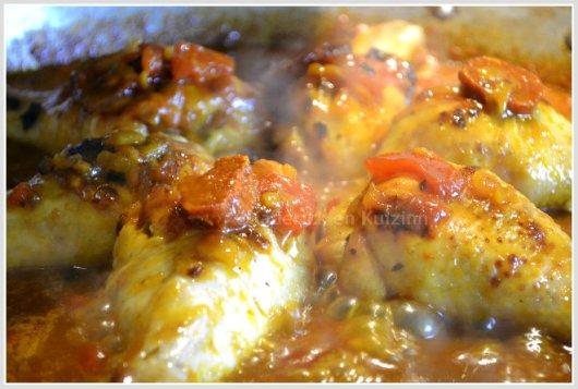 Recette poulet tomates confites à la plancha avec du chorizo et du riz safrané