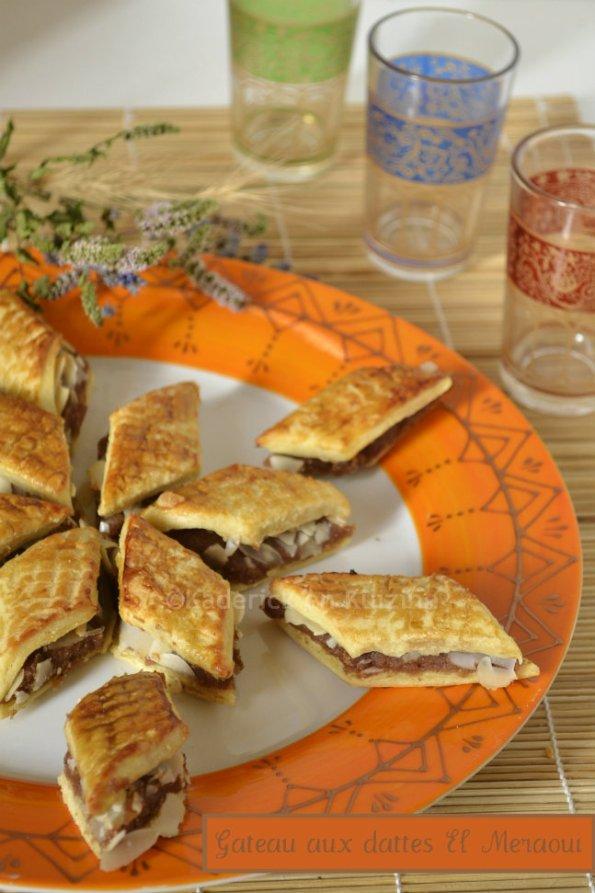 Dégustation gâteau de la pâte de dattes El Meraoui avec des amandes et recouvert de café pour une douceur orientale