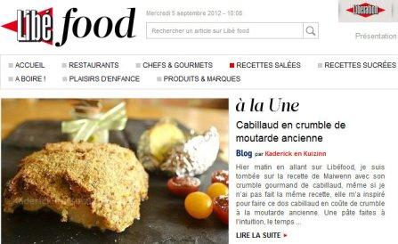 A la Une LibeFood 05.09.12 dos de cabillaud en crumble à la moutarde ancienne Kaderick en Kuizinn©