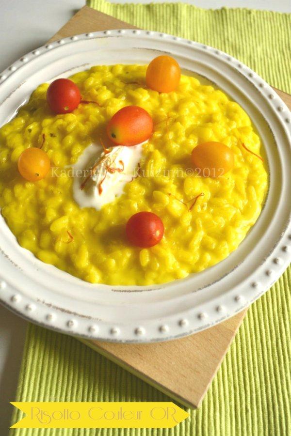 Dégustation du risotto crémeux au pistil de safran espagnol et au mascarpone servi avec des tomates cerises bio pour une recette Italienne - Kaderick en Kuizinn©