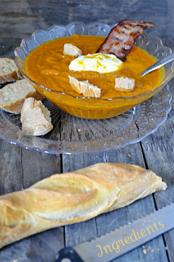 Dégustation du velouté de potimarron aux épices orientale & mascarpone recette faites avec les restes du tajine d'agneau - Kaderick en Kuizinn©