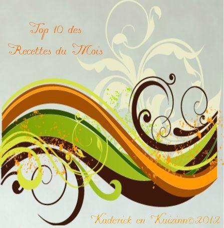 Logo Top 10 des recettes du mois de Septembre 2012 - Kaderick en Kuizinn©