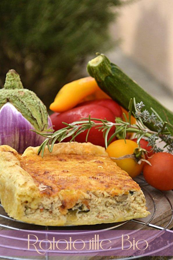 Recette de la quiche ou tarte avec une pâte feuilletée et de légumes bio cuisiné en à la ratatouille - Kaderick en Kuizinn©