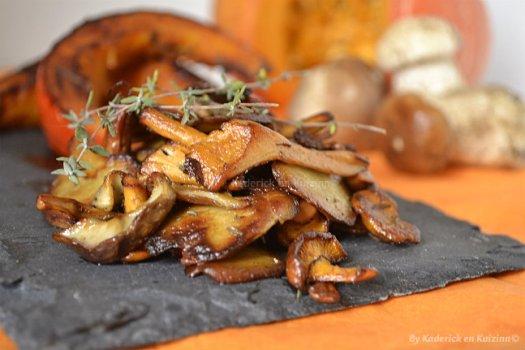 Recette de tranches de potimarron rôties et poêlée de cèpes et girolles pour Culino Versions - Kaderick en Kuizinn©