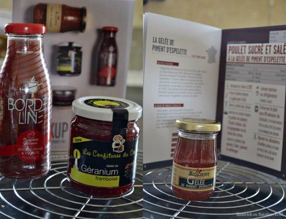 Présentation des produits sud ouest de la Box CookUp avec de la gelée de piment d'Espelette, confiture de géranium, purée de piquillos - Kaderick en Kuizinn©