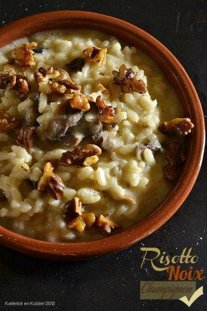 Dégustation de la recette du risotto aux champignons et noix croquantes épicées au gingembre, cumin et paprika - Kaderick en Kuizinn©