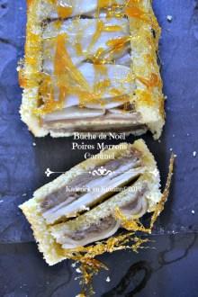 Dégustation bûche de Noël aux poires, crème de marrons et fils de caramel - Kaderick en Kuizinn©2012