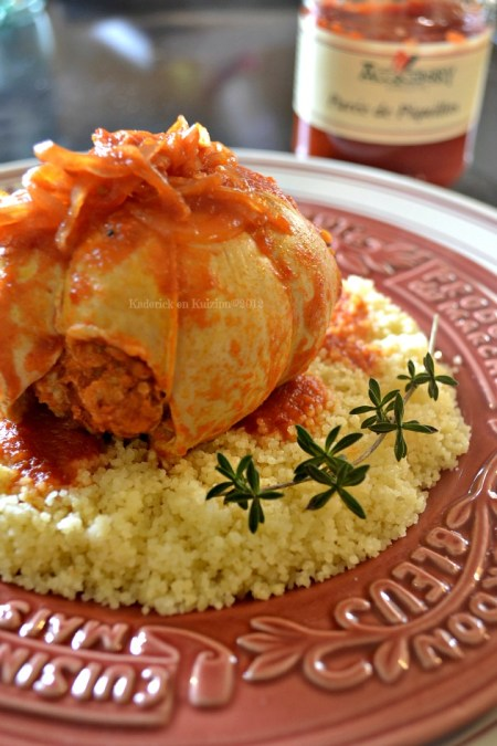 Recette paupiettes de poulet à la purée de piquillos, semoule, sauge et sarriette pour un plat du jour bien savoureux - Kaderick en Kuizinn©2012