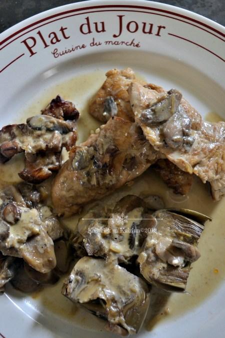 Recette aiguillettes de poulet aux artichauts sauce raifort du partenariat avec la marque Bahadourian® - Kaderick en Kuizinn©2012