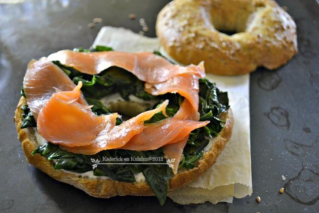 Recette bagel epinards bio saumon fume