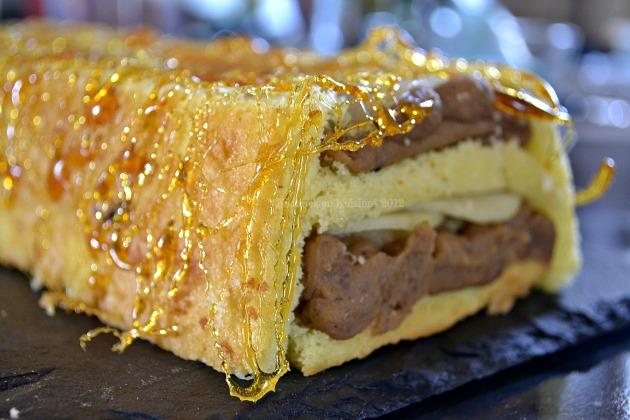 Recette buche poires, crème de marron et fil de caramel - Kaderick en Kuizinn©2012