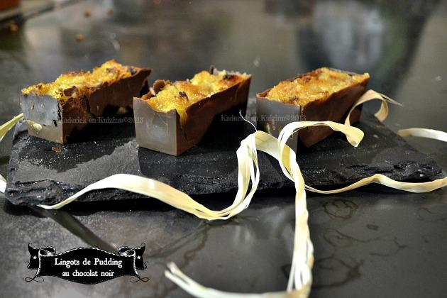 Recette lingots de pudding au chocolat noir pour un dessert classique ayant mis un habit de fêtes - Kaderick en Kuizinn©2013