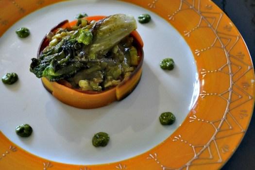 Recette de la fondue de poireaux & rubans de carottes servis avec un coeur de salade rôtie et un pesto de mâche pour Culino Versions - Kaderick en Kuizinn©2013