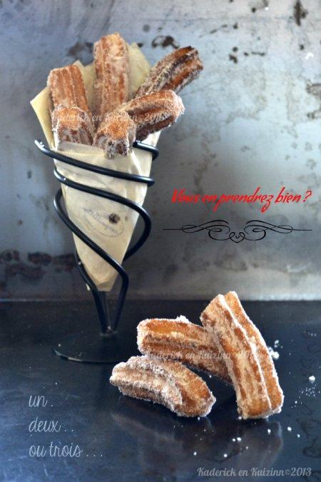 Recette facile des churros maison au sucre tonka comme à la fête foraine pour le thème de Culino Versions - kaderick en Kuizinn©2013