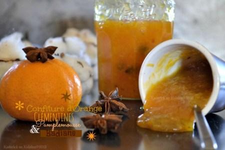 Recette confiture d'orange, clémentine, pamplemousse bio & badiane pour un mélange subtil entre les agrumes et à l'anis étoilé - Kaderick en Kuizinn©2013
