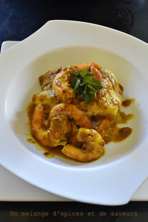 Recette dos de cabillaud pâte masala faites maison avec un mélange d'épices et crevettes - Kaderick en Kuizinn©2013
