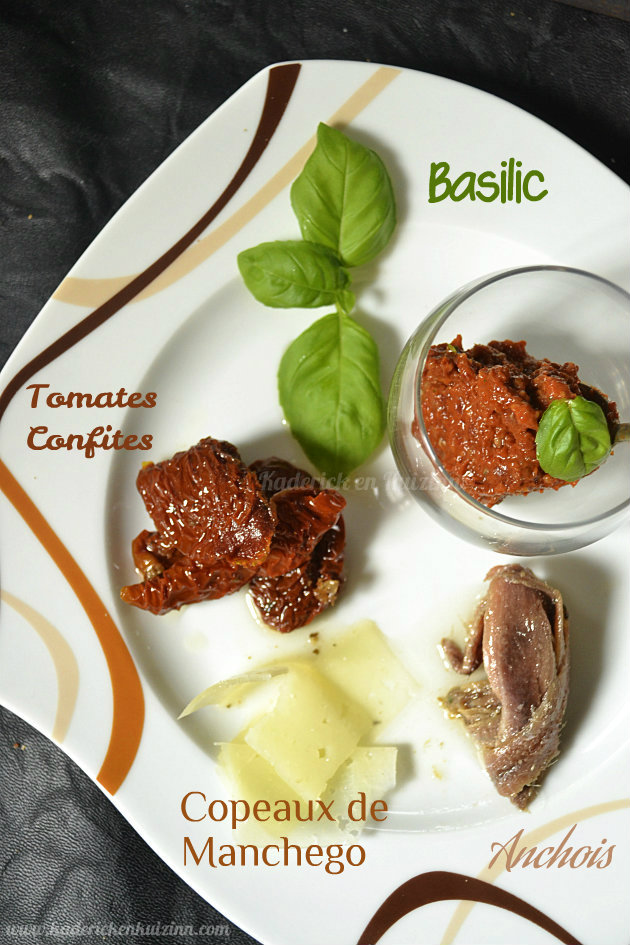 Recette Italienne du pesto rosso avec tomates confites, anchois, parmesan et basilic - Kaderick en Kuizinn©