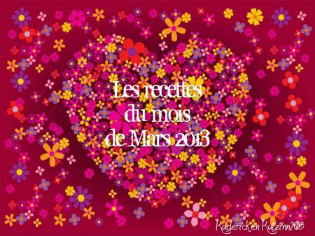 Top 10 recettes mois mars 2013