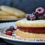 recette macaron à la noix de coco garni d'un sorbet fraise maison