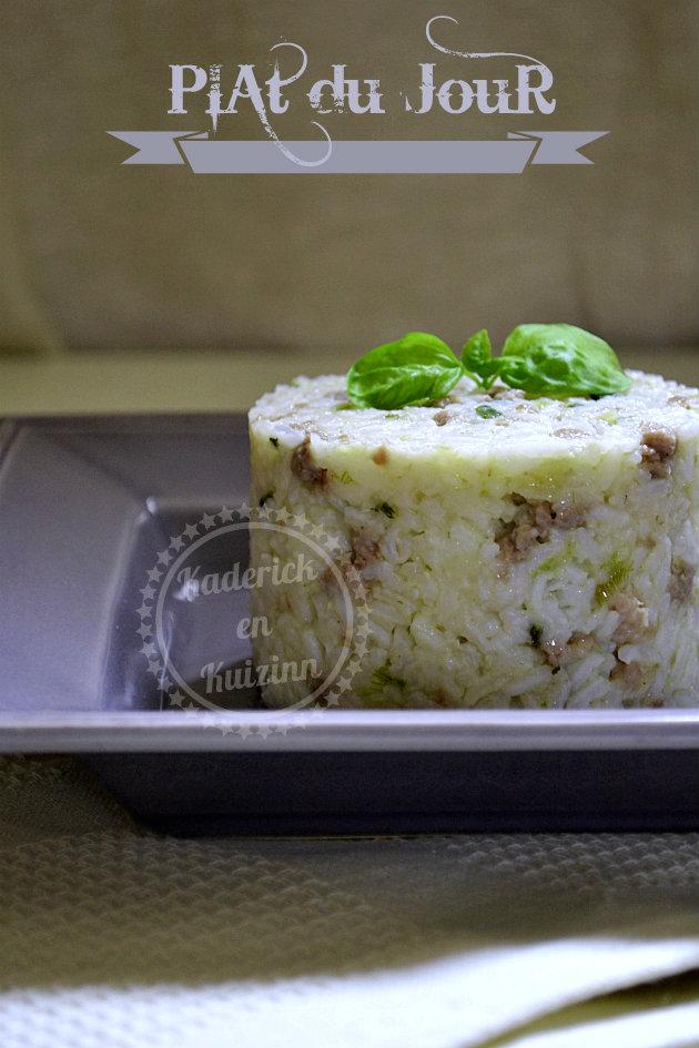 Plat du jour timbale riz Sri Lanka et saucisse de Toulouse - Recette de reste cuisiné pour un repas rapide