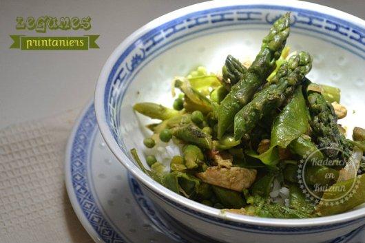 Wok de légumes printaniers dinde et riz thaï - Recette de cuisine simple et saine