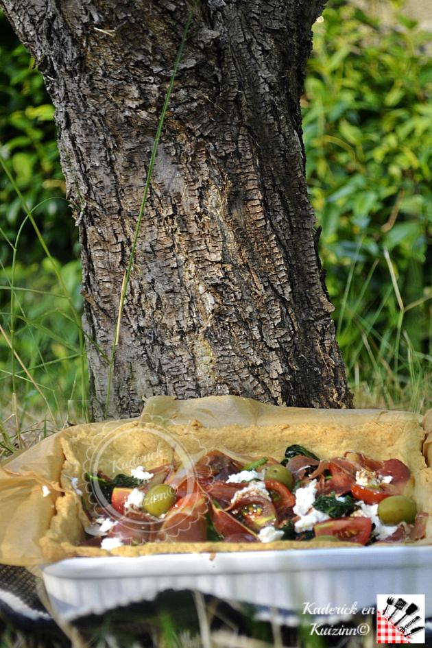 Dégustation tarte à la brousse, épinards bio pour un pique nique