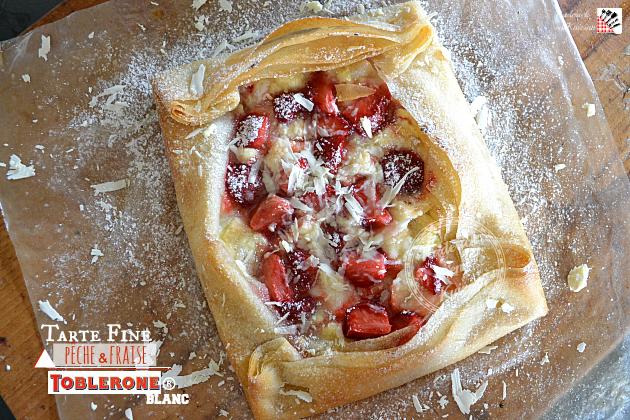 Recette tarte fine aux pêches, fraises et toblerone blanc