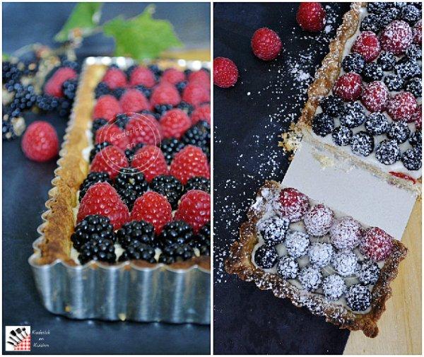 Présentation recette tarte brousse, mûres et framboises