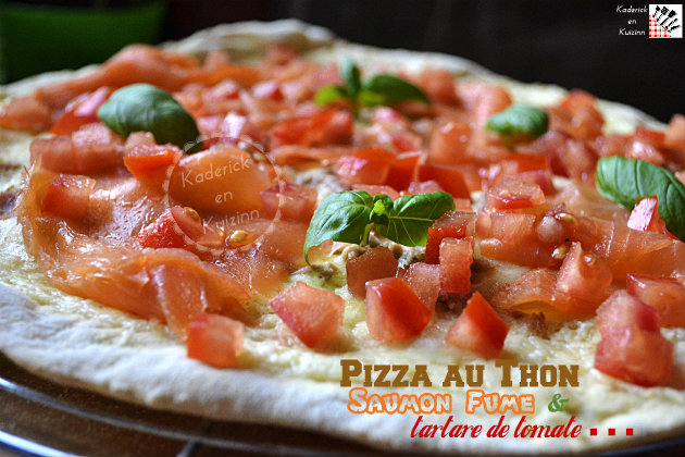 pizza thon saumon fum tartare de tomate la plancha. Black Bedroom Furniture Sets. Home Design Ideas