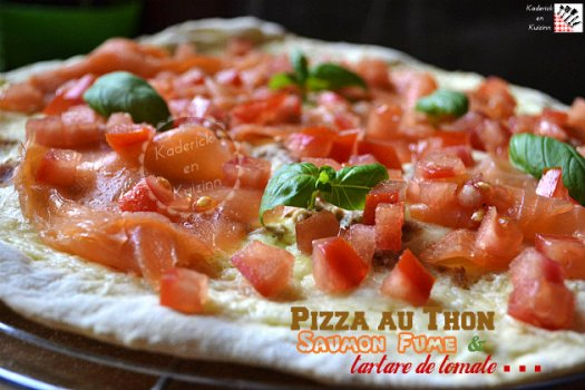Recette pizza thon, saumon fumé et tartare de tomate