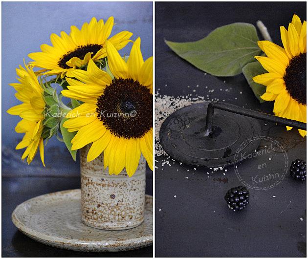 Bouquet de tournesol et fer à brûler la crème catalane