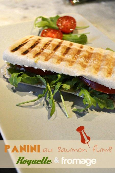 Dégustation panini au saumon fumé, roquette et fromage
