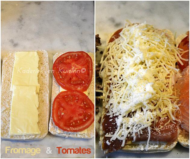 Préparation panini au fromage en tranches et tomates bio