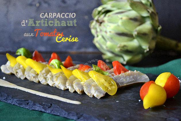 Recette carpaccio d'artichaut et tomates cerise pour Prince de Bretagne