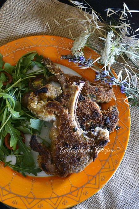 Dégustation côtes d'agneau panées au parmesan et coriandre