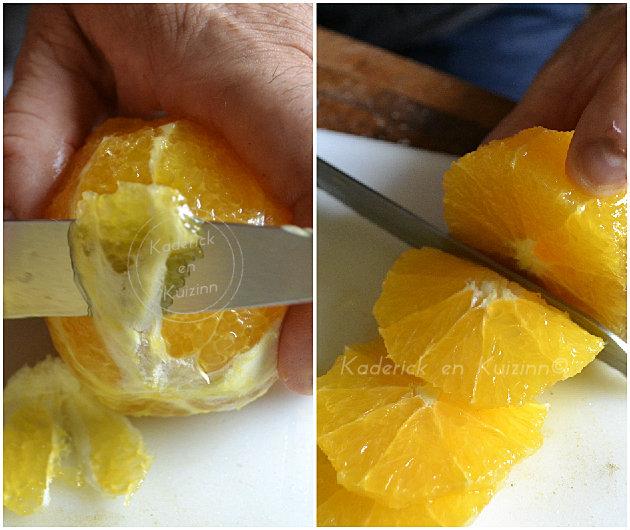 Découper une orange bio et la peler à vif pour faire les tranches du carpaccio