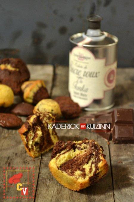recette madeleines tigrées chocolat vanille en forme de muffins pour Culino Versions