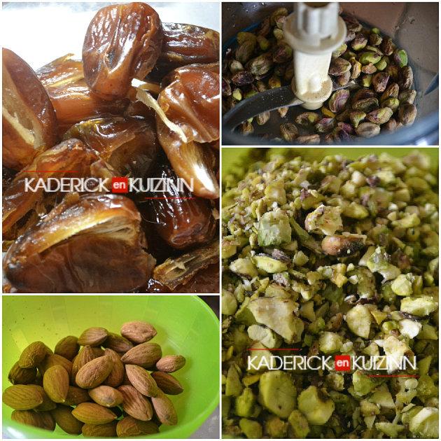 Ingrédients pâtisserie orientale samoussas aux dattes, pistaches et miel