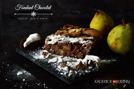Recette fondant chocolat aux poires, amandes et noisetons Chocadom