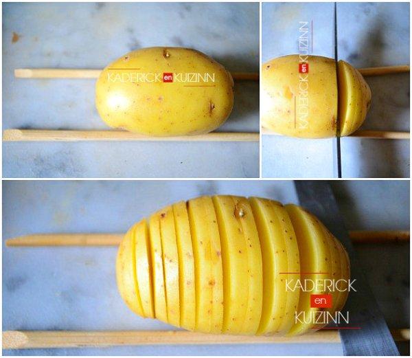 Découpage au 3/4 pomme de terre hasselback en tranches fines - recette express