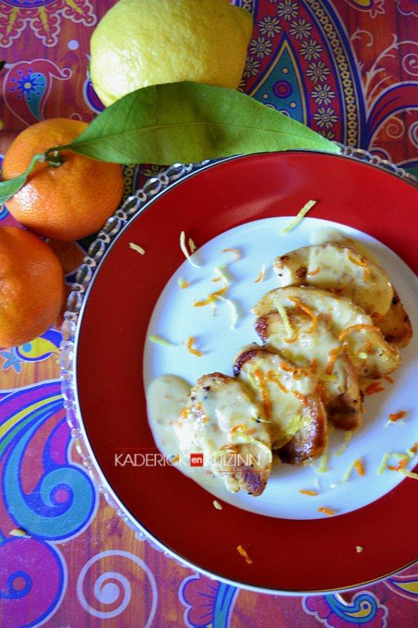 Dégustation du poulet et réduction de la sauce d'agrumes bio - recette facile