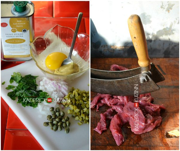 Ingrédients du tartare de bœuf, cornichon, câpre, échalote et persil - recette d'entrées