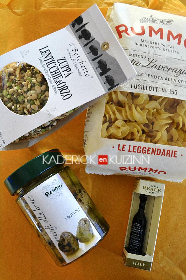 Produits italiens partenariat avec ItaliAmore, fusillotti, artichauts, légumes secs pour soupe - recette Italienne