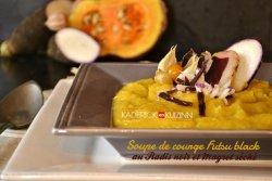 Recette detox soupe bio de courge futsu black, radis noir et magret séché - recettes automne
