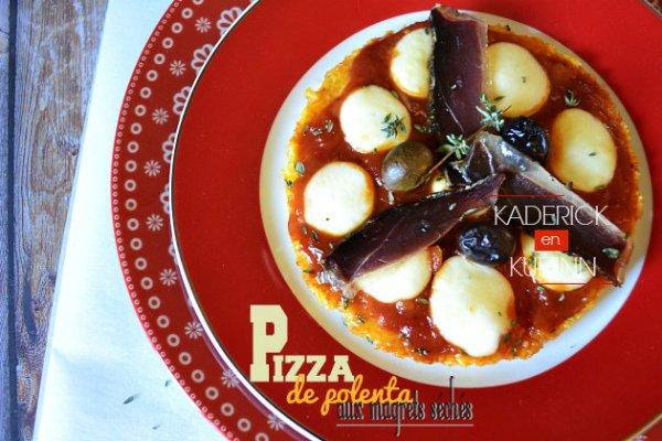 Recette sans gluten pizza polenta aux magrets séchés fait maison - Cuisine Italienne