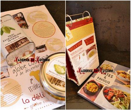 Deli box avec les produits box globe cooking Italie contenant de l'huile d'olive, livre - recette italienne