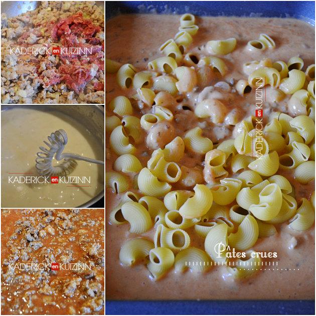 Préparation gratin de pâtes crues avec sauce bechamel et bolognaise - recette express