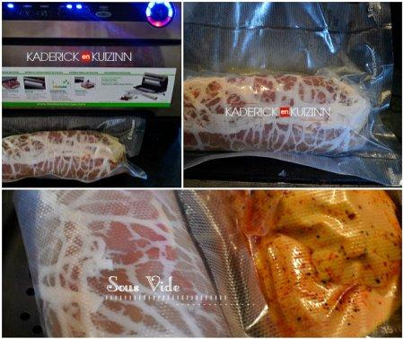 Comment mettre sous vide le roti poulet farci avec une farce à base de foie gras - recette à la vapeur