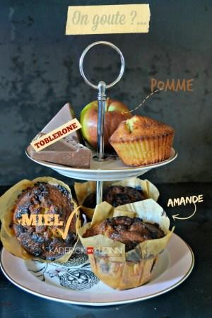 Recette muffins - muffins aux pommes, amande, miel et chocolat toblerone